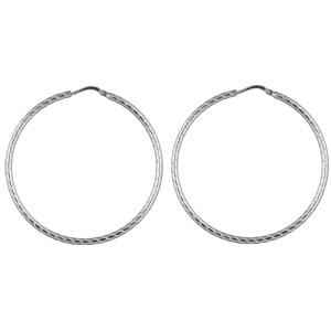 Créoles en argent strié diamètre 42mm - Vue 1