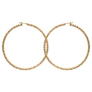 Créoles en plaqué or diamantées - diamètre anneaux 60mm - Vue 1