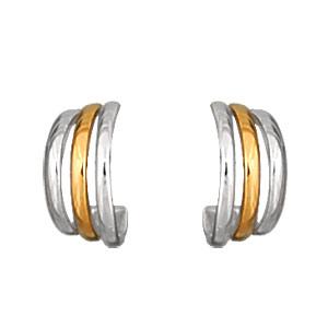 Créoles en plaqué or et plaqué palladium bicolore 3 anneaux alignés et fermoir poussette - Vue 1