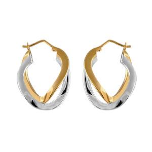 Créoles en plaqué or et plaqué palladium bicolore anneaux ondulés - Vue 1