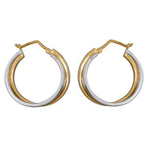 Créoles en plaqué or et plaqué palladium double anneaux entrelacés - Vue 1