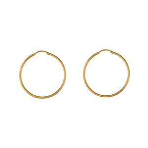Créoles en plaqué or fil lisse - largeur 1,5mm et diamètre anneaux 35mm - Vue 1