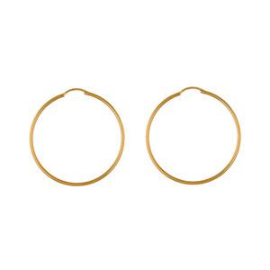 Créoles en plaqué or fil lisse - largeur 1,5mm et diamètre anneaux 45mm