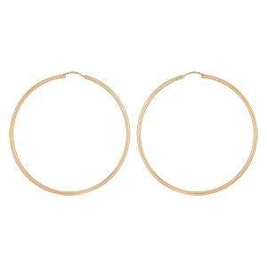 Créoles en plaqué or fil lisse - largeur 2mm et diamètre anneaux 65mm