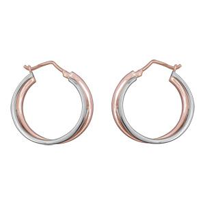 Créoles en plaqué or rose et plaqué palladium double anneaux entrelacés - Vue 1