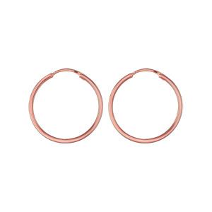 Créoles en plaqué or rose fil lisse - largeur 1,5mm et diamètre anneaux 25mm - Vue 1