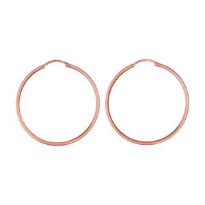 Créoles en plaqué or rose fil lisse - largeur 1,5mm et diamètre anneaux 35mm