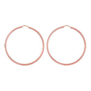Créoles en plaqué or rose fil lisse - largeur 2mm et diamètre anneaux 55mm