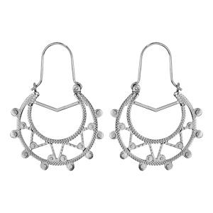 Créoles ethniques en argent rhodié avec triangles diamantés et boules - diamètre anneaux 25mm