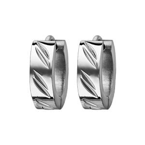 Créoles fantaisies en acier articulées avec 2 stries en biais - Vue 1