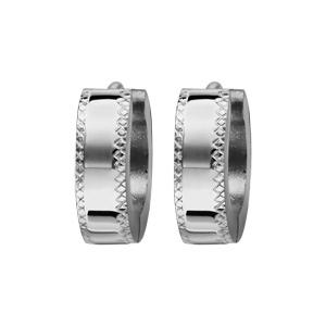 Créoles fantaisies en acier brillant articulées avec diamantage en croisillons - Vue 1