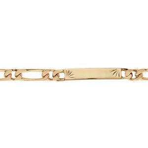 Gourmette en plaqué or maille figaro 1+1 avec diamantage étoilé dans 2 angles - largeur 6mm et longueur 18cm - Vue 1