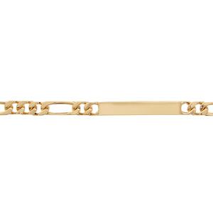 Gourmette en plaqué or maille figaro 1+3 largeur 6mm et longueur 18,5cm - Vue 1