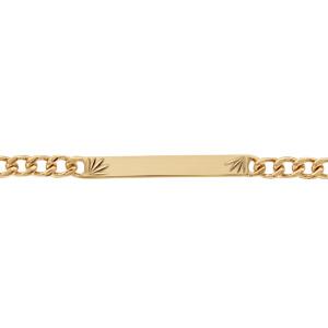 Gourmette en plaqué or maille serrée avec diamantage étoilé dans 2 angles - largeur 4mm et longueur 18cm - Vue 1