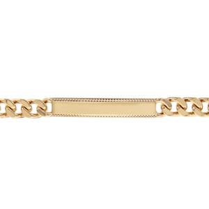 Gourmette plaqué or maille serrée avec bords de la plaque ciselés - largeur 7mm et longueur 21cm - Vue 1