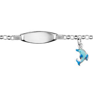 Gourmette pour bébé en argent maille jaseron avec plaque ovale et pampille dauphin bleu - largeur 2mm et longueur 13cm + 2cm de rallonge - Vue 1