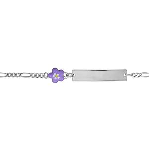 Gourmette pour bébé en argent rhodié maille 1+3 avec fleur violette sur la chaîne - longueur 13cm + 2cm de rallonge - Vue 1