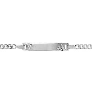 Gourmette pour bébé en argent rhodié maille serrée avec diamantage étoilé dans les coins - largeur 3mm et longueur 14cm + 2cm de rallonge - Vue 1