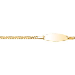 Gourmette pour bébé en plaqué or maille serrée avec plaque ovale - largeur 2mm et longueur 13cm + 2cm de rallonge - Vue 1