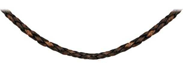 Cordon en cuir tressé marron et fermoir en acier - longueur 45cm + 5cm de rallonge