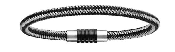Bracelet acier charms fermoir PVD noir aimanté et visse tresse PVD noir et gris - longueur 18 cm