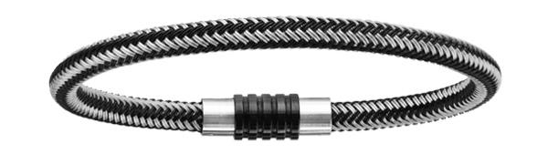 Bracelet en acier et PVD noir mélangé tressé pour charms et fermoir aimant et vis - longueur 19,50 cm