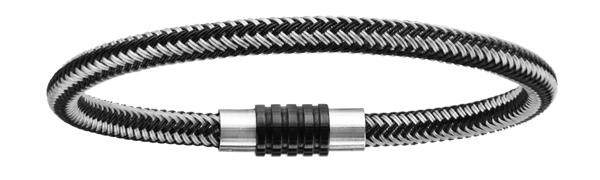 Bracelet en acier et PVD noir mélangé tressé pour charms et fermoir aimant et vis - longueur 21cm