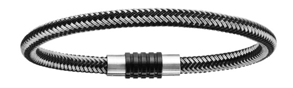 Bracelet en acier et PVD noir mélangé tressé pour charms et fermoir aimant et vis - longueur 23cm