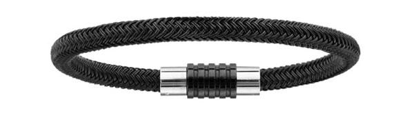 Bracelet pour charms homme en tresse PVD noir fermoir en acier aimanté et vissé 18 cm