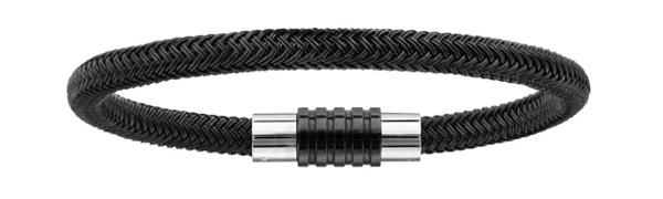 Bracelet en acier et PVD noir tressé pour charms et fermoir aimant et vis - longueur 19,50 cm