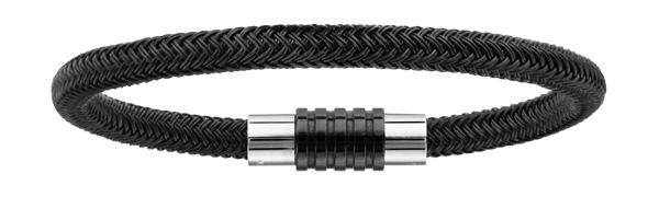 Bracelet en acier et PVD noir tressé pour charms et fermoir aimant et vis - longueur 21cm