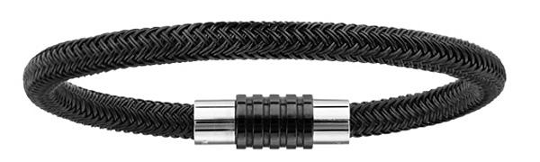 Bracelet en acier et PVD noir tressé pour charms et fermoir aimant et vis - longueur 23cm