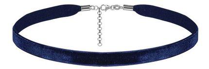 Ruban choker en velours bleu marine et fermoir en argent rhodié - largeur 10mm et longueur 30cm + 5cm de rallonge