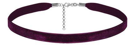Ruban choker en velours violet et fermoir en argent rhodié - largeur 10mm et longueur 30cm + 5cm de rallonge