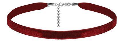 Ruban choker en velours rouge et fermoir en argent rhodié - largeur 10mm et longueur 30cm + 5cm de rallonge