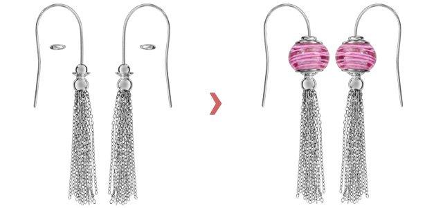 Boucles d\'oreilles en argent rhodié charms avec plusieurs chaînettes et fermoir crochet