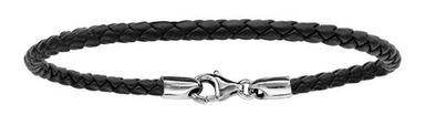 Bracelet en cuir noir tressé pour charms et fermoir en argent rhodié - longueur 17,5cm