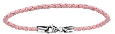 Bracelet en cuir rose tressé pour charms et fermoir en argent rhodié - longueur 17,5cm