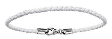 Bracelet en cuir blanc tressé pour charms et fermoir en argent rhodié - longueur 17,5cm