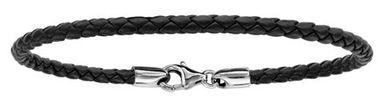 Bracelet en cuir noir tressé pour charms et fermoir en argent rhodié - longueur 19,5cm