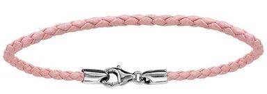 Bracelet en cuir rose tressé pour charms et fermoir en argent rhodié - longueur 19,5cm