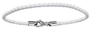 Bracelet en cuir blanc tressé pour charms et fermoir en argent rhodié - longueur 19,5cm
