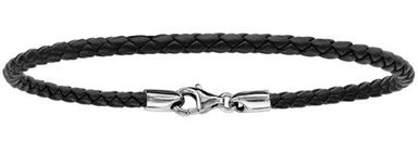 Bracelet en cuir noir tressé pour charms et fermoir en argent rhodié - longueur 21cm