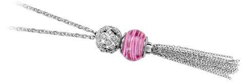 Collier en argent rhodié chaîne avec pompon en chaînettes pour charms - longueur 51cm + 5cm de rallonge
