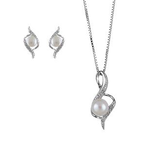 Parure argent rhodié perle imitation crème - Vue 1
