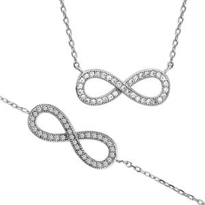 Parure bracelet et collier argent forme infini - Vue 1