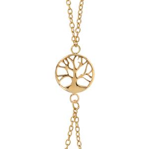 images détaillées prix de gros célèbre marque de designer Chaîne de main en plaqué or avec arbre de vie et fermoir ressort