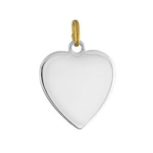 Pendentif acier et or coeur lisse moyen modèle - Vue 1