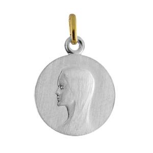 Pendentif acier et or médaille 16mm vierge admirabilis - Vue 1