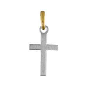 Pendentif acier et or petite croix plate - Vue 1